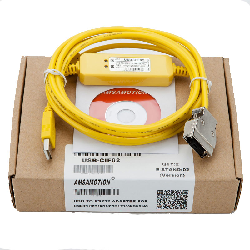USB-CIF02 USB interface to Omron PLC programming cable, for CPM1, CPM1A, CPM2A, CQM1, C200HS, C200HX/HG/HE and SRM1 series.