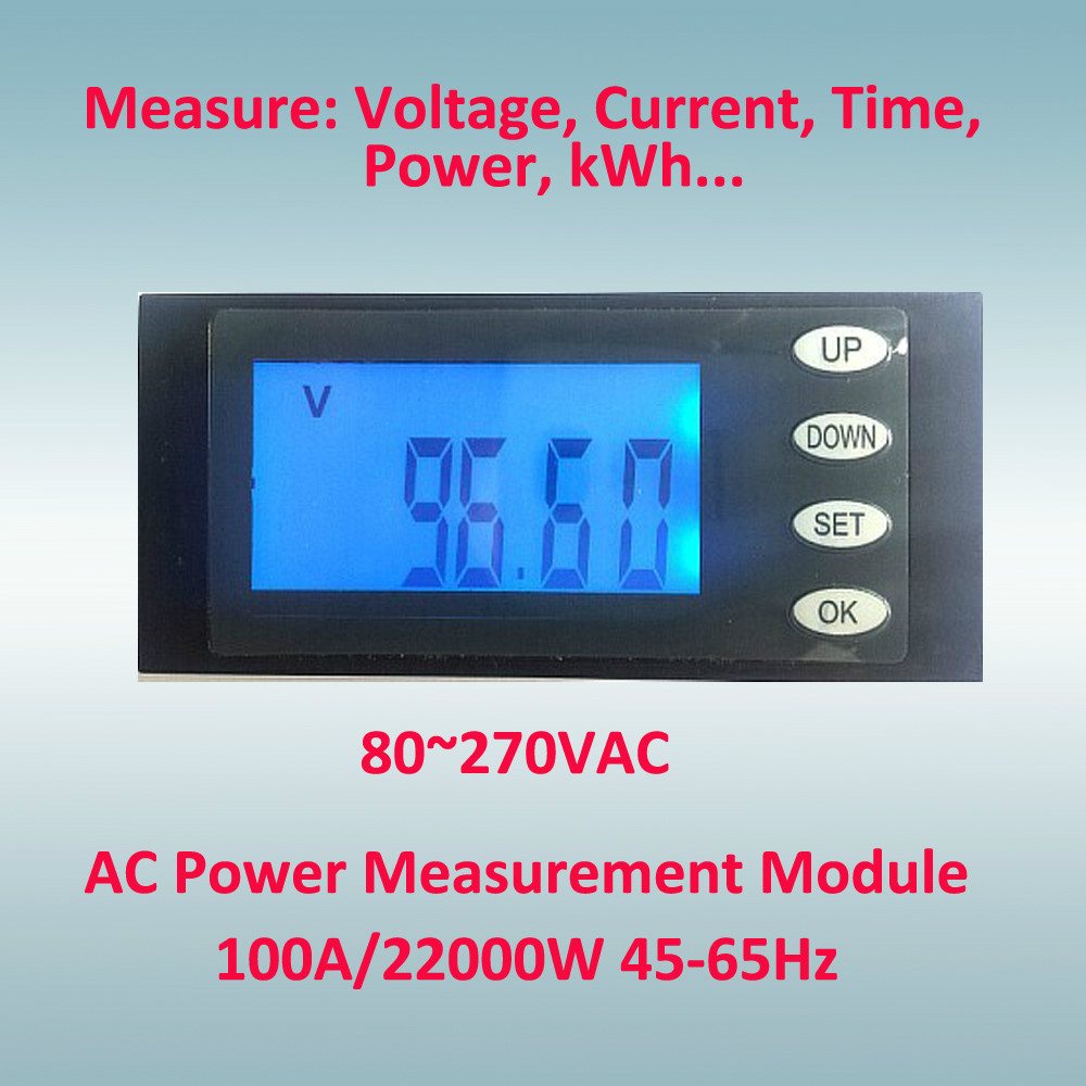 AC 22000w power measure with current transformer, voltage meter 80-264VAC, current up to 100A, Hour and kWh measurement