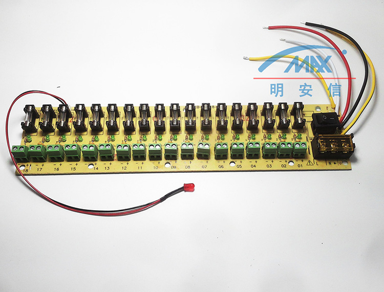 12V DC power distribution 18 ch PCB board terminal block for switching power supply electricity current wiring LED switch
