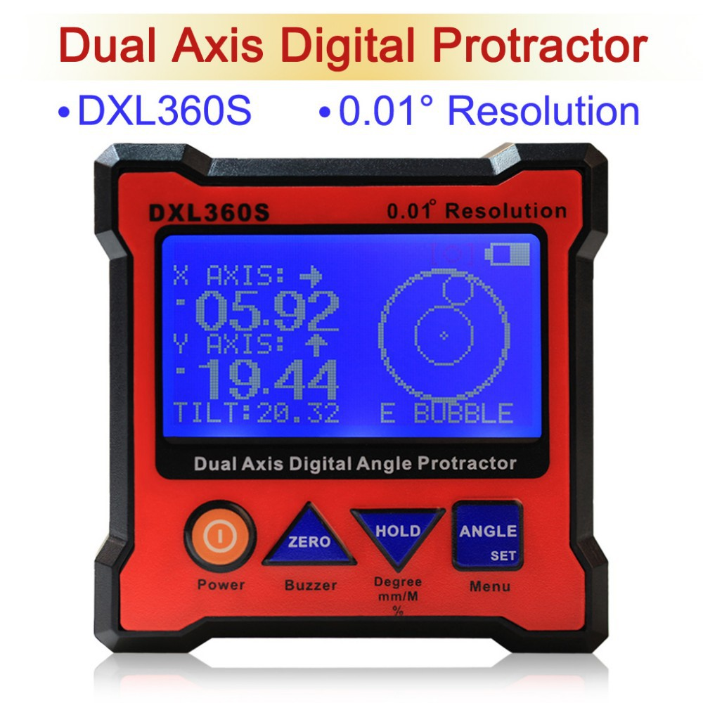 DXL360S Digital Protractor Inclinometer Dual Axis Level Measure Box Angle Ruler Elevation Meter