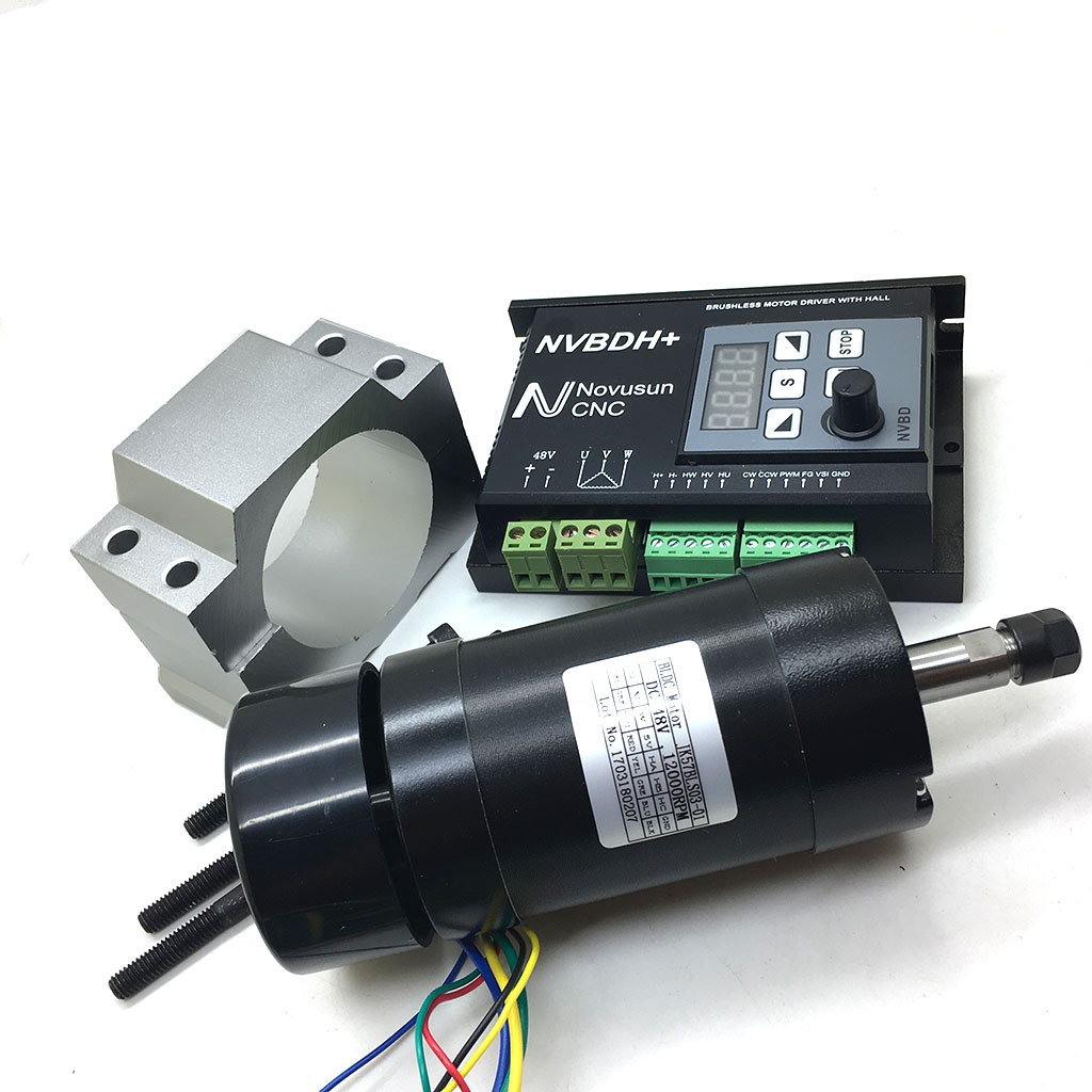 48V DC CNC Brushless Driver Kit 400W ER8 Brushless Motor with Hall & 600W Driver with Control Panel & Motor Mount