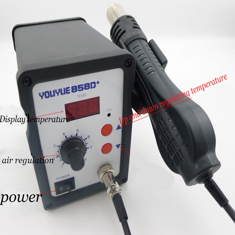 SMD Rework Station 700W Hot Air Gun 858D+ ESD Soldering Station LED Digital Desoldering Station