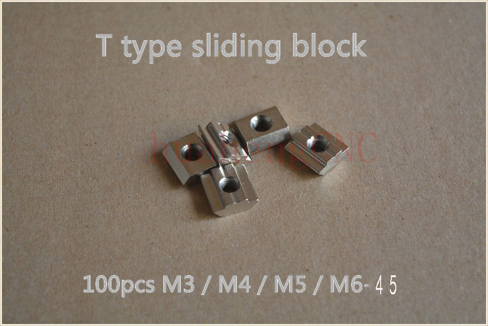 100pcs T sliding nut block M4/M5/M6/M8/M10 for 45 series aluminum profile slot 10mm