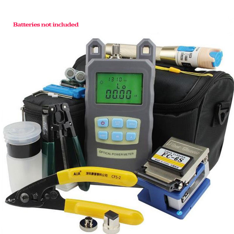 Fiber Optic FTTH Tool Kit with FC-6S Fiber Cleaver and Optical Power Meter 10Mw